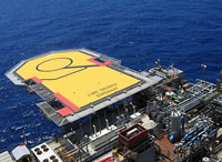 helipad on texas gulf coast oil rig