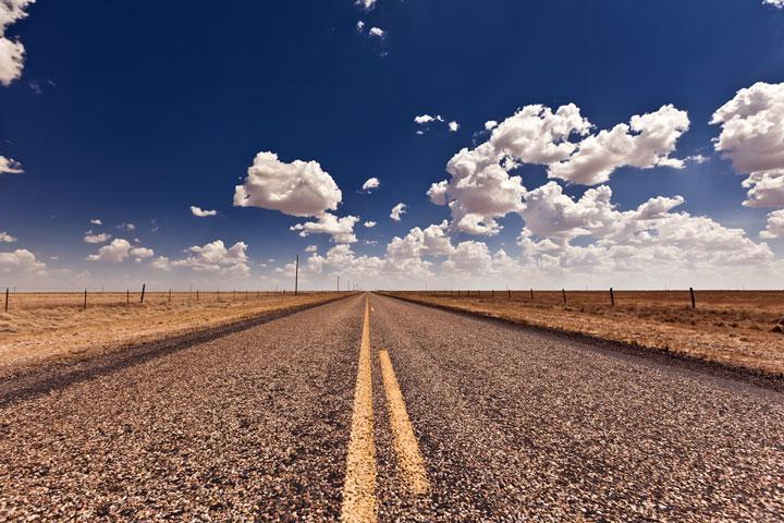 rural road in Texas