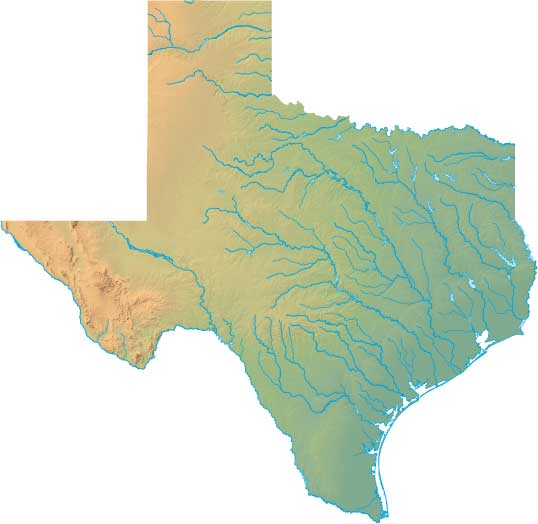Texas relief map